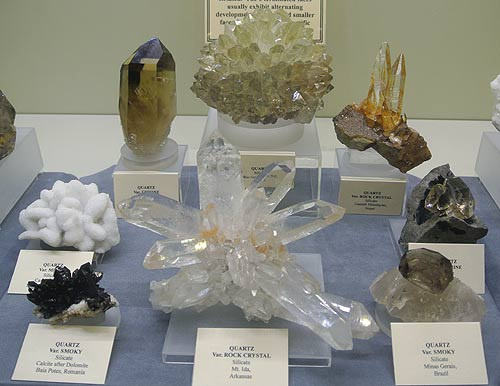 Quartz mineral specimens on display at the Springfield Show 2013