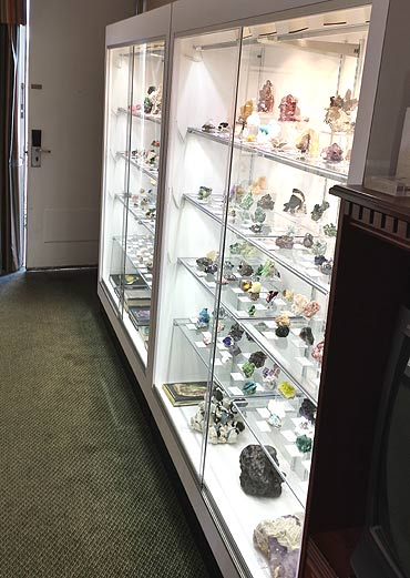 Mineral specimens on display in the Kristalle room at the Colorado Mineral and Fossil Show