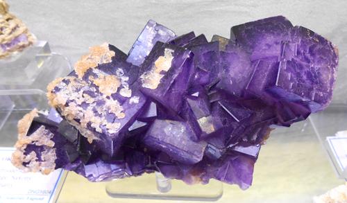 Fluorite with Calcite from Tounfit, Boumia, Meknes-Tafilalet Region, Morocco.