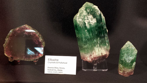 The display by Harvard University Museum showed a mix of Tourmaline specimens and polished slices.