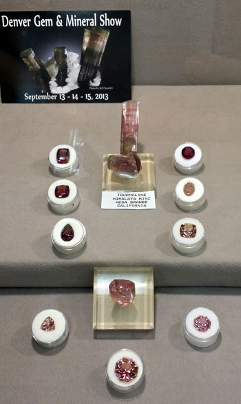Beautiful Tourmaline cut stones and crystals from the Himalaya Mine, San Diego Co., California were on display from the North Jaffco Gem & Mineral Club.
