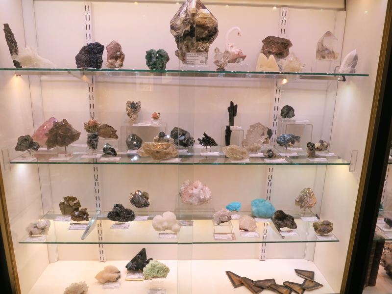 More minerals including a large Quartz from Minas Gerais, Brazil on the top centre