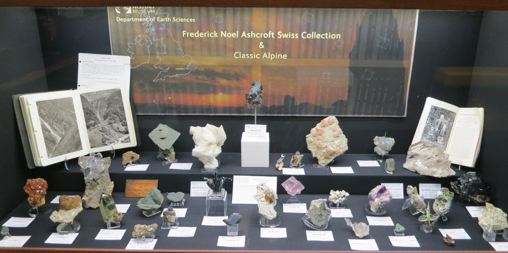 The Natural History Museum, London were displaying the Frederick Noel Ashcroft Swiss Collection and classic Alpine minerals