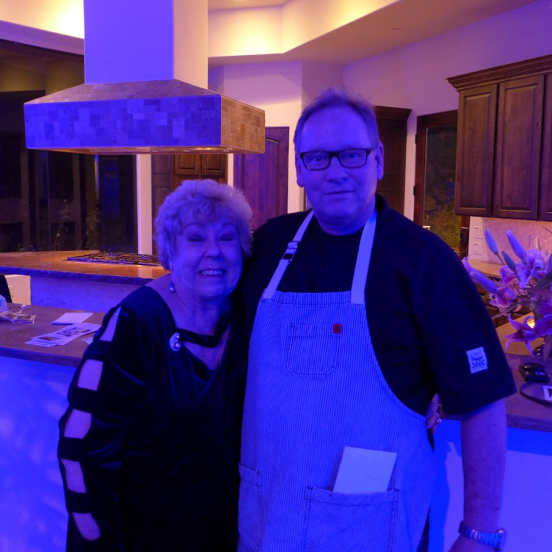 Dona with our chef for the evening: Albert Hall of Acacia Restaurant (a former Iron Chef winner) – Albert has cooked for us for many years.