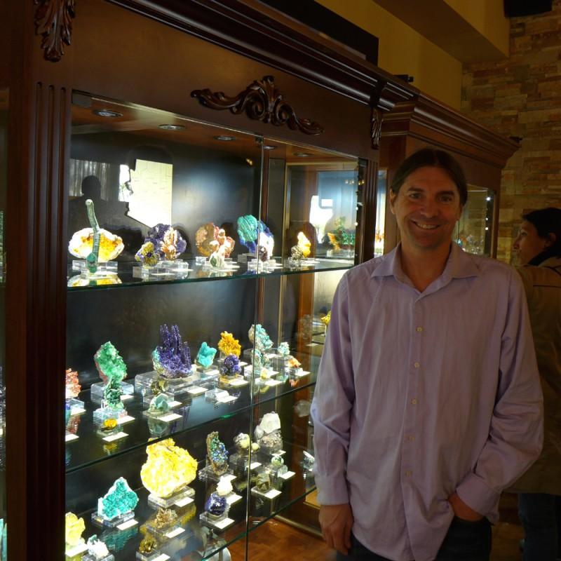 Evan Jones with Arizona minerals on display