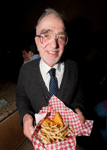 "Terry ""Skip"" Szenics with Fish and Chips (photo courtesy of Mark Mauthner)"