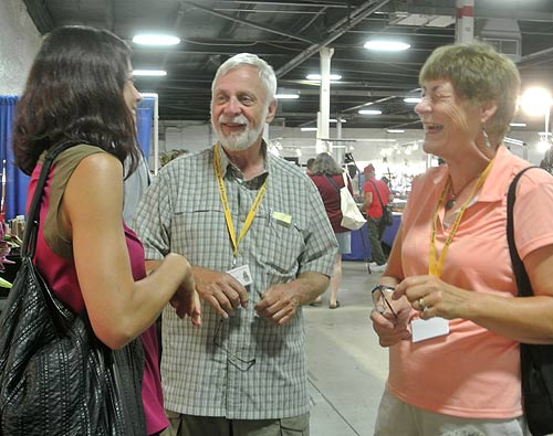 Herb and Moni Obodda chatting with Dr. Raquel Alonso-Perez of Harvard Mineral Museum.