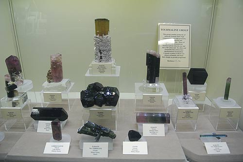 Tourmaline mineral specimens on display at the Springfield 2013 mineral show