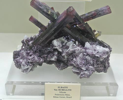 Tourmaline crystal group with Lepidolite and Cleavelandite, from Pederneira Mine, Minas Gerais, Brazil.