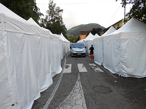 Tent lined streets of Ste Marie Aux Mines