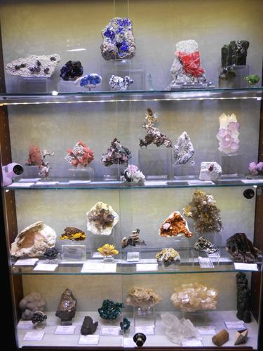 Kristalle cabinet of mineral specimens for sale at the Sainte Marie-aux-Mines Mineral show 2013