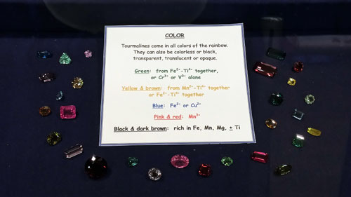 "A very informative display from the Californian Academy of Science asking: ""What does it mean to be a Tourmaline?"""