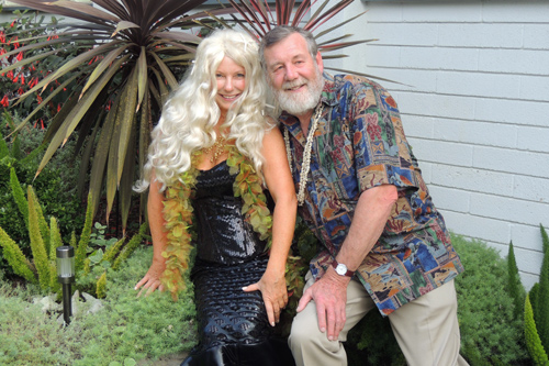 Lois Nelson and Dave Lloyd dressed for the Ocean Treasures party at Crystal Cove