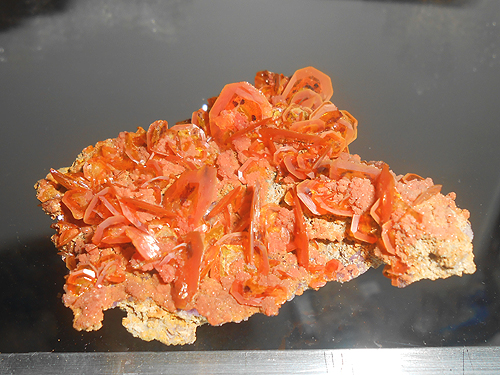 "A delicate group of thin Wulfenite plates showing some color zoning and truncated crystal corners from the Tombstone Hills, Cochise Co., Arizona, USA. Around 3"" across."
