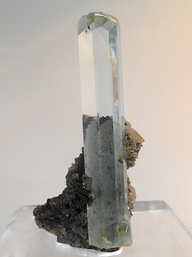 "A delicately coloured clear terminated Aquamarine crystal, measuring 3"" tall and 1/2"" thick with a little matrix in association.  From near Skardu, Baltistan, Gilgit-Baltistan, Pakistan."