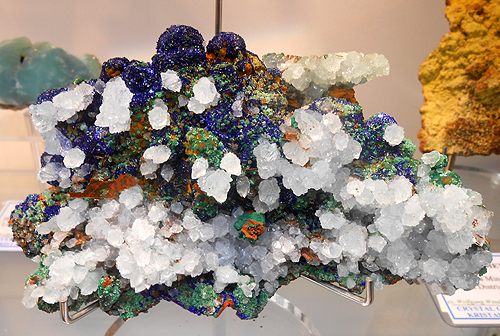 "A great specimen from the Ancient mines at Lavrion in Greece. Calcite on Azurite with Malachite and Olivenite. Specimen measures approx. 5"" across. Hilarion Mines, Kamariza, Lavrion District, Attikí Prefecture, Greece."