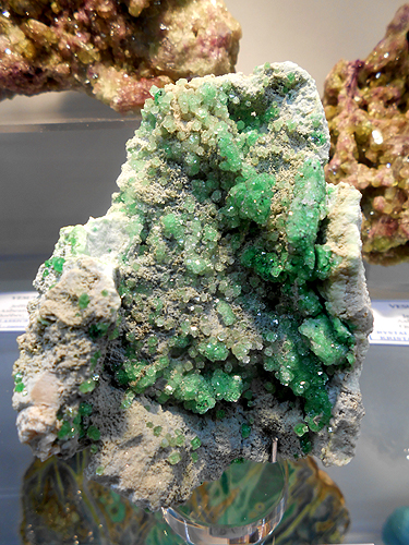 A scattering of green dodecahedral crystals of Chromium rich Grossular Garnet on matrix from the Jeffrey mine, Asbestos, Québec, Canada.