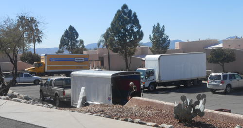 Some of the Dealer trucks arriving at the Westward Look Resort on Tuesday afternoon.
