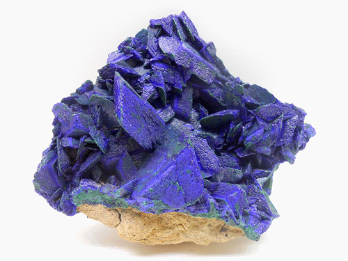 Cluster of well developed Azurite crystals on a small amount of matrix from Chessy-les-Mines, Le Bois d'Oingt, Rhône, Rhône-Alpes, France.
