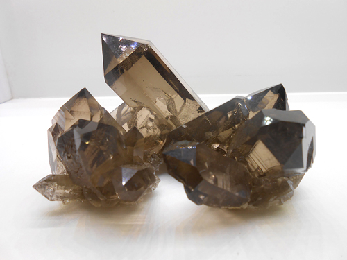 A very nice Smoky Quartz specimen with excellent terminations, clarity and rich colour from the  Mont Blanc Massif, Chamonix, Haute-Savoie, Rhône-Alpes, France.