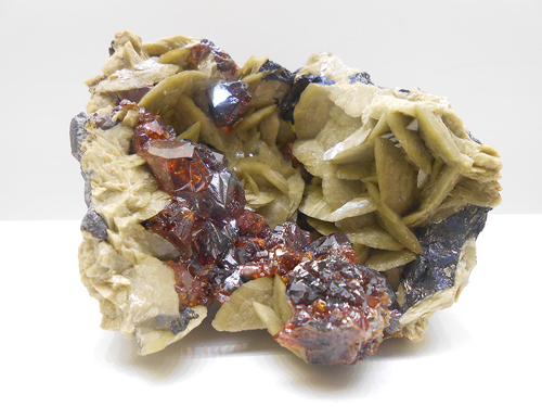 Another Siderite  from  La Mure, Isère, Rhône-Alpes, France, but this time in association with deep coloured Sphalerite crystals