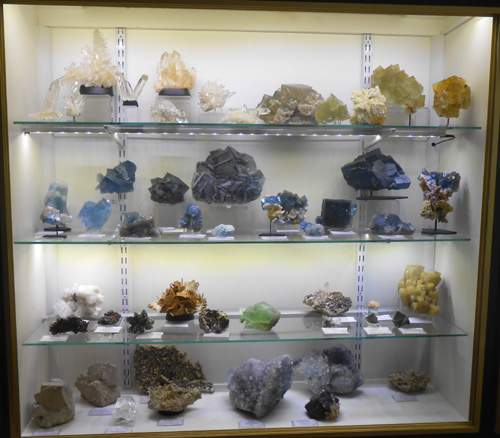 One of Kristalle's finished cabinets with all its mineral specimens in place.