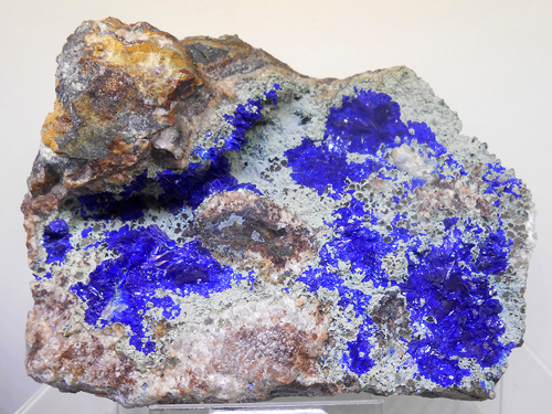Rich azure blue Linarite encrustations on matrix from the Grand Reef Mine, Laurel Canyon, Graham Co., Arizona, USA.