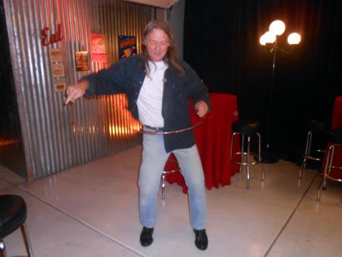Rob Sielecki tries his talents at the Hula Hoop