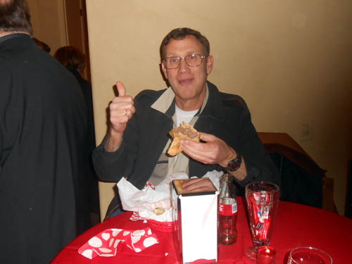 Steve Maslansky gives his thumbs up for the delicious Kobe beef hamburgers