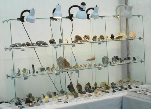Luiz Menezes' glass display stand with many Brazilian goodies.