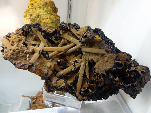 "Goethite coatings after Gypsum (Selenite) crystals from Jean Baptiste Mine, Kamariza, Agios Konstantinos, Lavrion District Mines, Lavrion, Attikí Prefecture, Greece. Specimen is around 8"" in length."