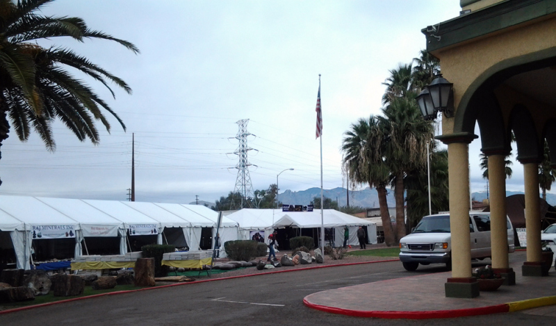 Dealer tents at the mineral show at the Hotel Tucson City Centre