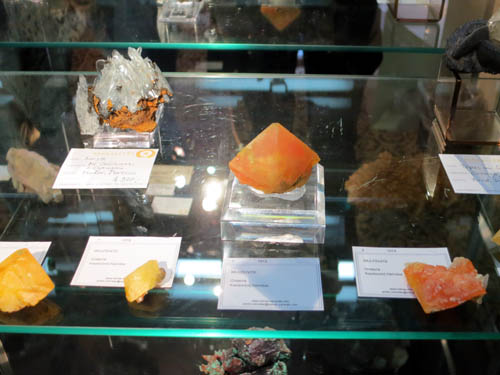 Wulfenite crystals from Onderra, Kaokoveld, Namibia to several cm wide