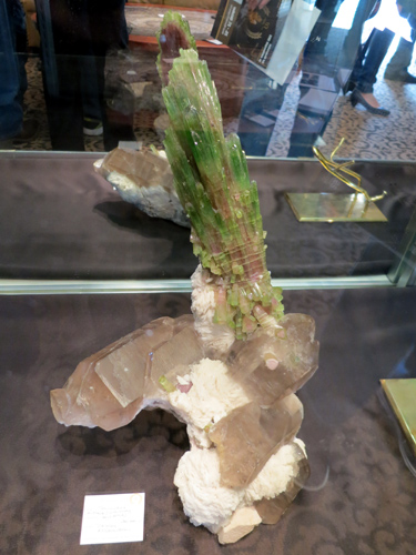 Red Gallery has this fabulous large Tourmaline on Smoky Quartz from Paprok, Afghanistan over 30cm tall.