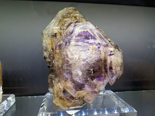 Large Smoky Quartz and Amethyst doubly terminated specimen, from Goboboseb Mountains, Brandberg, Erongo, Namibia. The colours are very rich, and the etched-looking hoppered crystal growth is often called 'Window' or 'Fenestre' Quartz