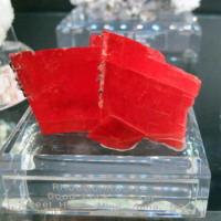 A vibrant red Rhodochrosite from Good Luck Pocket, Sweet Home Mine, CO, USA with large rhombohedral crystals.