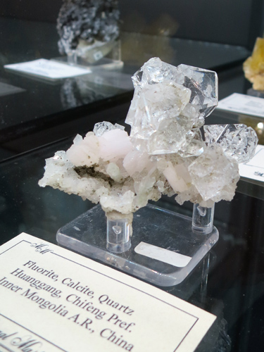 Octahedral Fluorite with Calcite and Quartz, exhibiting water clear gemminess. from Huanggang, Inner Mongolia, China