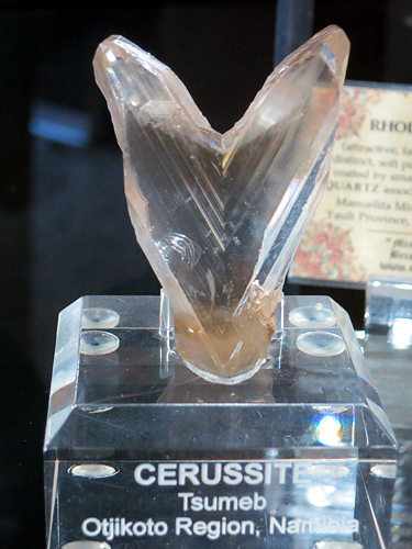 A very gemmy 'V' twin Cerussite from Tsumeb