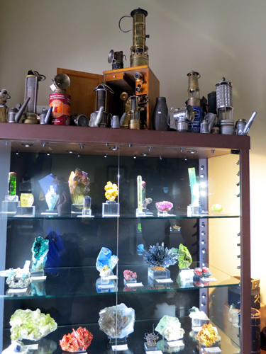 Mining memorabilia and mineral specimens on display