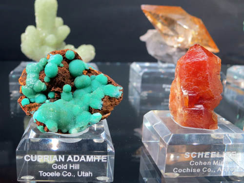 Cuprian Adamite from Gold Hill, Utah on the left, and Scheelite from Cohen Mine, Arizona on the right