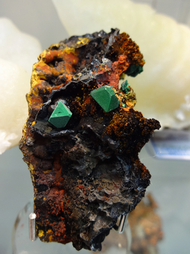 Crystals of Malachite pseudomorphing Cuprite, from the Hilarion Mines, Kamariza, Agios Konstantinos, Lavrion District, Attikí Prefecture, Greece.
