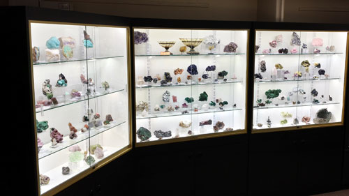 Kristalle's room at the Denver Gem and Mineral show with fine minerals on display