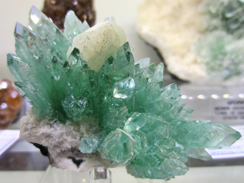 A fine cluster of Apophyllite crystals from Pune District, Maharashtra State, India.