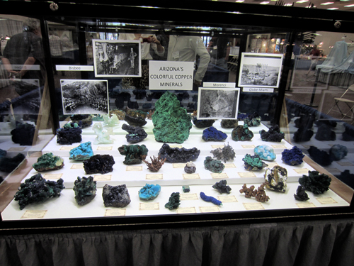 Always a real treat, a cabinet filled with rich greens and blues from the Les and Paula Presmyk collection.