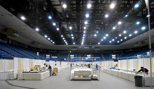 The Concert Arena with more booths, at the early stages of assembly.