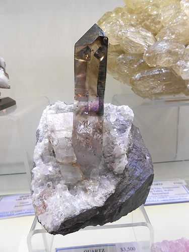 Sceptered Smoky and Amethyst Quartz crystal, perched on matrix with a little Calcite in association, from the Goboboseb Mountains, Brandberg Area, Erongo Region, Namibia.