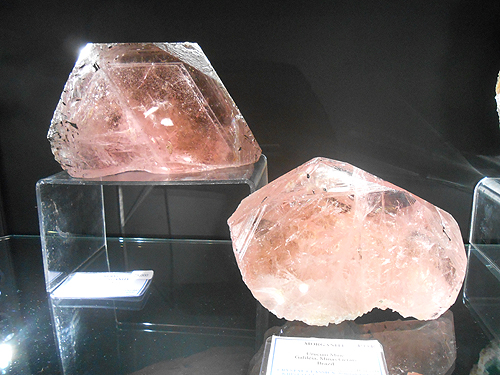 Beryl, var. Morganite crystals from Brazil.