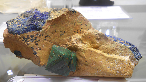 Cuprite on matrix with Azurite from Chessy-les-Mines, Le Bois d'Oingt, Rhône, Rhône-Alpes, France.
