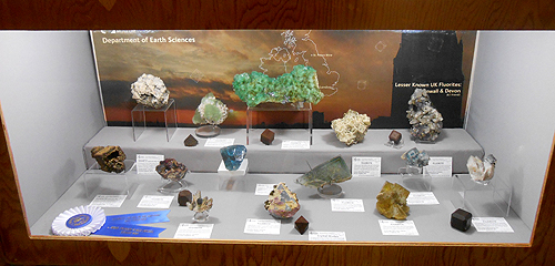 The British Museum (Natural History) Mineralogy Dept. had a showcase of fine British specimens of Fluorite and Fluorite associated items.