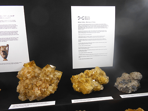 A closer look at some of the specimens in the National Museum of Scotland's show case. The specimen on the left is from the renowned Hilton Mine, Scordale Cumbria, England.